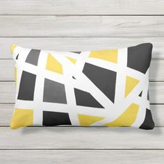 Shop Yellow Gray Black White Geometric Abstract Throw Pillow created by MartiGambaArt. Grey And Yellow Living Room, Blue Yellow Grey, Black White, Living Room Decor Cozy, Living Room Colors, Mustard Color Scheme, Colours That Go With Grey, Yellow House Exterior, Exterior Color Palette