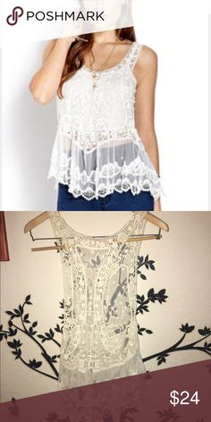 🌟Cute Lace Top🌟 Sheer, off white color(see 2nd picture). In good condition! Forever 21 Tops Camisoles