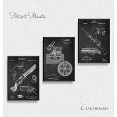 Rifles Patents, Set of 3 Prints