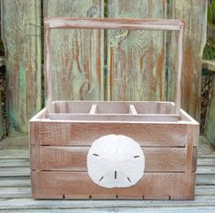 Love this . . .too classy for backyardiness?  Silverware Caddy  Distressed Wooden with shell by GreenLifeUSA