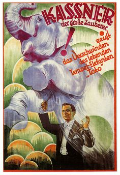German illusionist Alois Kassner, 1920's poster.  Alois Kassner (August 28, 1887 - March 23, 1970) was a German illusionist.He performed a with a full evening show with twenty assistants, one of the largest magical shows in Germany of his day. He made a short come-back after the last war and retired at the age of 65. His farewell show was on August 1954 in Berlin. Kassner was a member of the I. B. M. and the Magic Circle. His colorful posters are treasured by collectors.