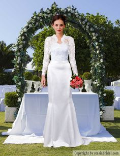Custom modest wedding dress with sleeves, modest wedding gown Designer: Stasia Modest Couture- specializes in modest and plus size wedding gowns. #modest #kallah #tznius #modestweddinggown #modestweddingdress #weddinggownwithsleeves #templeready #ldsbride #muslimbride #muslimwedding