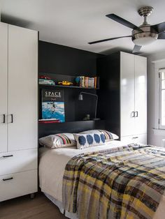 Storage cupboard ideas around bed. My Boys.