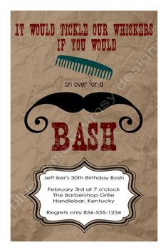 Comb on Over for a Mustache Bash  Birthday by BluegrassWhimsy, $12.00