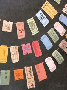 Vintage Ticket Garland...something to do with all those movie tickets!!!