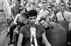 #25  Dorothy Counts - The First Black Girl To Attend An All White School In The United States - Being Teased And Taunted By Her White Male Peers At Charlotte's Harry Harding High School, 1957.