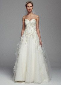 Make enduring memories on your special day in the opulent ball gown!  Strapless bodicewith beaded lace appliques features ultra-femininesweetheart neckline.  Long soft layers give this organzagown a whimsical feel.  Chapel train. Available in Ivory. Sizes 0-14.  Fully lined. Back zip. Imported. Dry clean only. To preserve your wedding dreams, try our Wedding Gown Preservation Kit.