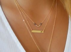 Personalized Bar Necklace Initial Bar Necklace Cut by annikabella