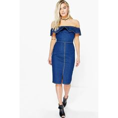 Boohoo Charli Off The Shoulder Bodycon Dress ($44) ❤ liked on Polyvore featuring dresses, indigo, white slip dress, maxi dress, sequin bodycon dress, sequin cocktail dresses and off the shoulder maxi dress