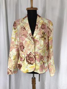 Ann Taylor Cotton Linen Floral Pink Beige Yellow Tailored Career Jacket sz 10 #AnnTaylor #Blazer