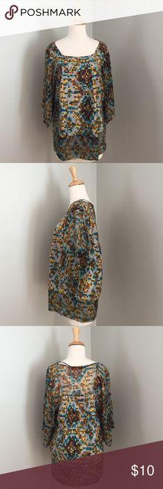 Zara 100% silk geo multi color tunic Beautiful multicolor geo silk top.  100% silk.  Good condition. Zara Tops Blouses