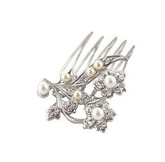 Pearl bridal comb  Headpiece  Rhinestone comb  by NaugiTiaras,   I like this one even better for me!