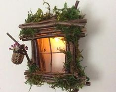 fairy garden ideas Fairy Window with Delicate Twinkling Light ~ Handcrafted by Olive Fairy Accessories, Fairy House, Fairy Door Miniature Fairy Figurines, Miniature Fairy Gardens, Miniature Houses, Fairy Garden Furniture, Fairy Garden Houses, Fairy Gardening, Gnome Garden, Gardening Tips, Fairy Crafts