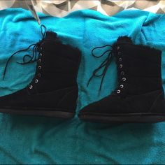 Bearpaw Boots Black suede size 10 only worn once or twice. Bearpaw Shoes Lace Up Boots
