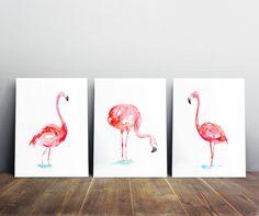 Pink Flamingo pinturas-conjunto de 3 flamencos de acuarela