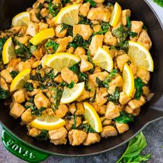 Chunks of juicy chicken stir-fried with garlic, fresh lemon, and basil. The recipe takes just 20 minutes and uses only one pan!