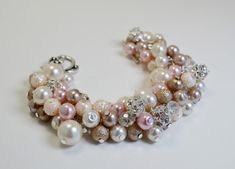 Ivory, Pink and Champagne,Bridal Jewelry, Ivory Wedding Bracelet, Bridesmaids Gift, Vintage Style Jewelry, Chunky Bracelet, Cluster Bracelet on Etsy, $20.00