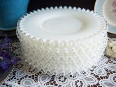 Fenton 8 Silvercrest Plates - White Milk Glass Plates - Set of Six Fenton Milk Glass Plates - W Fenton Glassware, Vintage Glassware, Fenton Milk Glass, Plates And Bowls, Cake Plates, Vintage Dishes, Antique Dishes, Glass Dishes, Glass Bowls