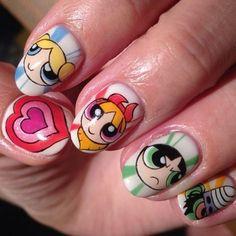 """""""The Powerpuff Girls""""art nails - Best Nail Art Kawaii Nail Art, Cute Nail Art, Cute Nails, Disney Acrylic Nails, Best Acrylic Nails, Disney Nails Art, Cartoon Nail Designs, Cute Nail Designs, Anime Nails"""