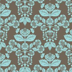 Modern Damask with Bees in coco and aqua-02 fabric by shellypenko on Spoonflower - custom fabric
