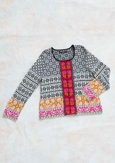 """Muhu"" cardigan in eco-cotton/wool – Roses, stripes and jacquard – Gudrun Sjödén"