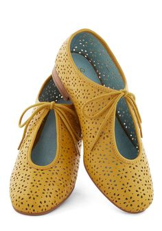 Scout Flat in Mustard. Youre always scouting out sweet selections for your wardrobe, so these perforated mustard-yellow flats by Seychelles were a natural choice! #yellow #modcloth
