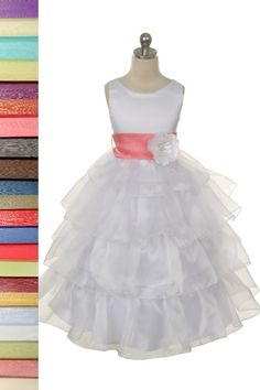 Elegant Crystal Organza Ruffled Flower Girl Dress with 30 Sash Choices