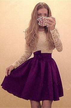 A-Line Dresses,Round Neck Dresses,Long Sleeves Dresses,Purple Homecoming Dresses,Short Homecoming Dresses,Lace Homecoming Dresses,Dresses For Teens,Homecoming Dresses  2017 #homecomingdresses