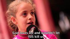 La respuesta de esta niña cristiana al odio de ISIS conmueve a reportero árabe  Myriam es una niña que huyó de Qaraqosh, la que fue hasta el año pasado la ciudad cristiana más grande de Irak, luego que los terroristas del Estado Islámico la tomaran en agosto del año pasado. La pequeña cuenta a un reportero de canal local lo que siente hacia los miembros de esta organización radical.
