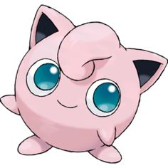 Jigglypuff, the Balloon Pokémon. Jigglypuff is a round, pink ball with pointed ears and large, blue eyes. It has rubbery, balloon-like skin and small, stubby arms and somewhat long feet. On top of its head is a curled tuft of fur.