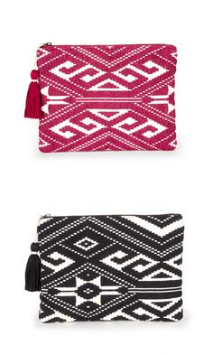 d3185924e44f Red and black tribal-inspired woven fabric clutch with a yarn tassel  Tapestry Bag