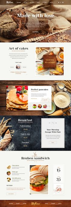 This is a great design. The way that the photos and layout make it look like it is homemade works very well and displays the food very nicely. The simple layout and typography also adds to that and provides an appetizing appeal. Design Websites, Web Design Trends, Site Web Design, Page Design, Website Menu Design, Website Designs, Website Ideas, Design Design, Design Tech