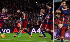 Barcelona 6-1 Celta Vigo: Luis Suarez hat-trick and Lionel Messi free-kick special help send Luis Enrique's men three points clear at the top of La Liga as they run riot at the Nou Camp | Daily Mail Online