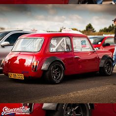 Who doesn't have a soft spot for an Austin Mini...   and if you saw this epic custom parked & ready to race, tell me you couldn't stop yourself from going over to check it out & grabbing a pic. What super slick red paint & bodywork. Found via - fellow mad pinner Splinter.