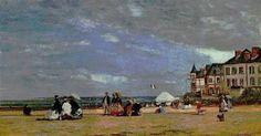 Eugène BOUDIN La plage de Trouville 1864  #Trouville-sur-Mer #Calvados #Normandie