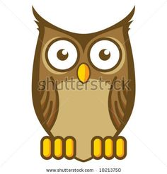 stock vector : Cartoon Owl...but just the oultine in black.