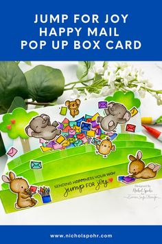 Mama Elephant interactive slimline pop up box card Jump For Joy Happy Mail Card! Pop Up Box Cards, Interactive Cards, Mama Elephant, Jumping For Joy, Happy Mail, Simon Says Stamp, Joy And Happiness, Lawn Fawn, Type