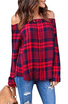 9d87b1d86fc3ce Tom's Ware Molisry Women Casual Off Shoulder Long Sleeve Button Plaid Loose Shirt  Blouse Tops Long