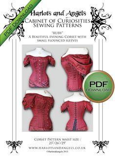 Corset Pattern Sewing Steampunk Pdf Wedding Gothic Burlesque Full Size Medium