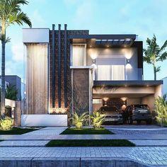 Modern Exterior House Designs, Best Modern House Design, Modern House Facades, Modern Villa Design, Bungalow House Design, House Front Design, Dream House Exterior, Modern Architecture House, Modern House Plans