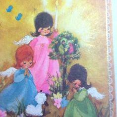 Vintage Christmas Greeting Card Cute Angels