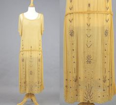 1920s Beaded Dress, Art Deco Flapper Dress, 20s Goldenrod Gatsby Dress