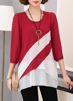 Burgundy Round Neck Three Quarter Sleeve Layered Blouse on sale only US$30.16 now, buy cheap Burgundy Round Neck Three Quarter Sleeve Layered Blouse at liligal.com