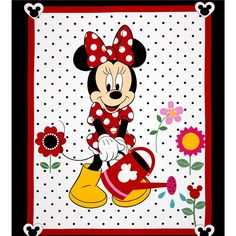 Disney Minnie Traditional Grow Your Own Panel White from @fabricdotcom Licensed by Disney to Springs Creative Products, this cotton print is perfect for quilting, apparel and home décor accents. Colors include red, black, pink, yellow and white. This is a licensed fabric and not for commercial use.