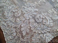 """Exquisite Antique French Alencon Lace Runner Intricate Design 34 1/2"""" x 14 1/2"""" www.Vintageblessings.com"""