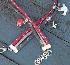 """Bracelet cordon liberty et cuir 2 tours """"envolée"""" fuchsia gris argenté"""