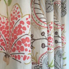 Gorgeous floral linen in cream, coral, grey and apple green. Available by the yard at www.tonicliving.com or let us make curtains for you, just email quotes@tonicliving.com for pricing and more info.  We work with Trade and the Public.