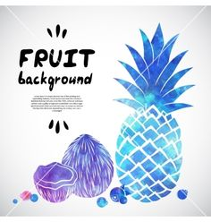 Watercolor fruit vector coconut and pineapple - by transia on VectorStock®