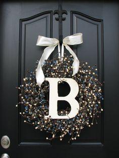 New Year Wreaths, Monogram Wreaths, January Wreath,Personalized Decor, Wedding Wreath, Berry Wreath,Vintage Inspired Decor,New Year's Wreath