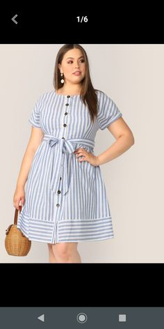 To find out about the Plus Button Front Striped Belted Dress at SHEIN, part of our latest Plus Size Dresses ready to shop online today! Dress Outfits, Fashion Dresses, Dress Clothes, Looks Plus Size, Mode Hijab, Belted Dress, Elegant Dresses, Types Of Sleeves, Boho Dress